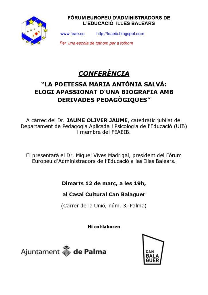FORO ILLES BALEARS: programa de la próxima actividad (29 de enero): Cena-coloquio sobre la figura de Gabriel Alomar.